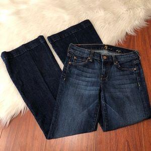 7FAM Dojo Jeans Dark Wash Distressed, Size 24